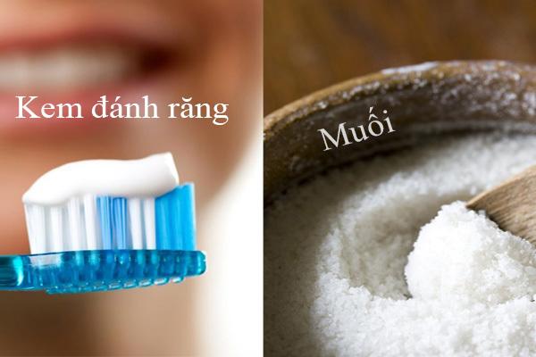 kem đánh răng và muối