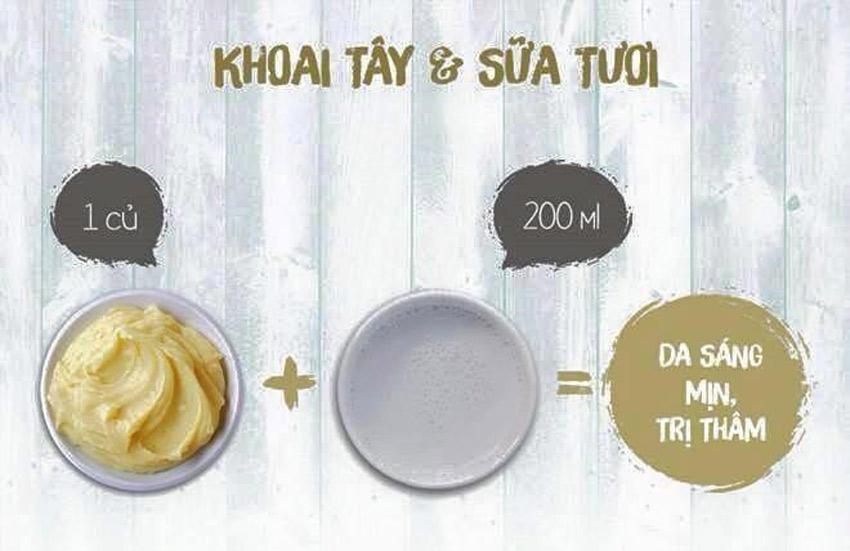 Cách làm làn da trắng sáng với khoai tây & sữa tươi