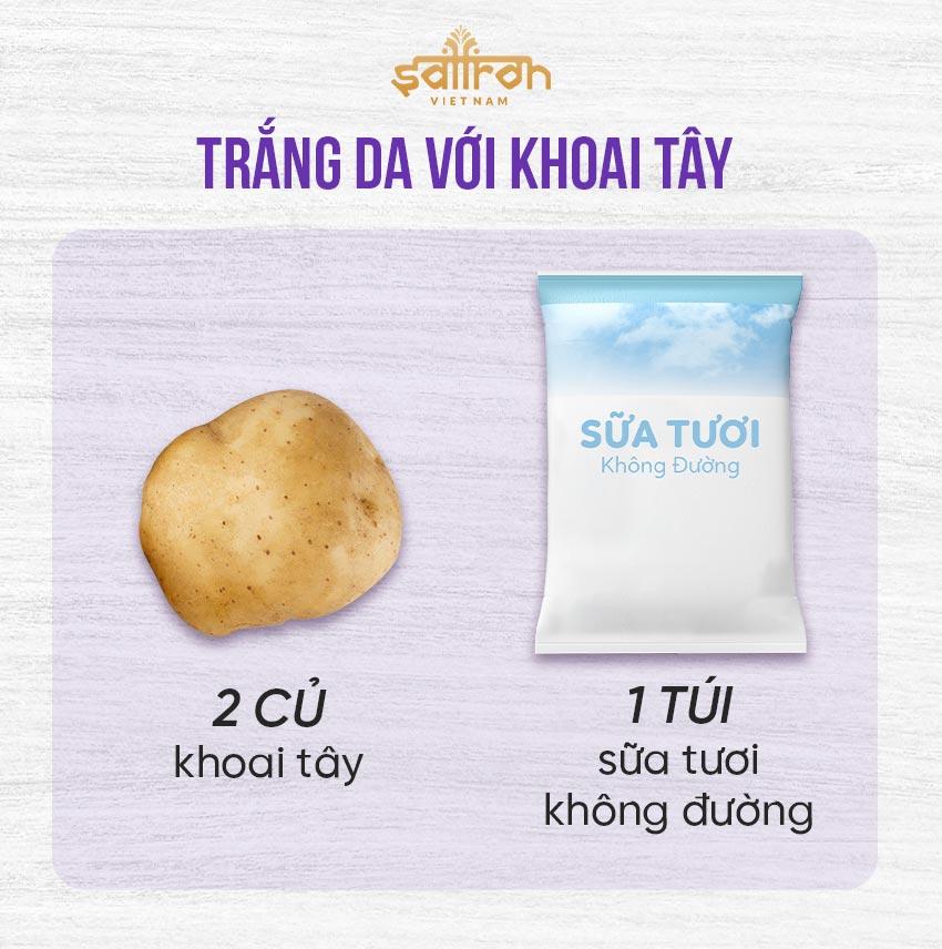 1. Cách làm trắng da tay, chân với khoai tây và sữa tươi